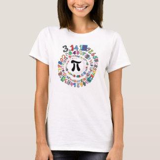 Espiral colorido de dígitos del pi camiseta