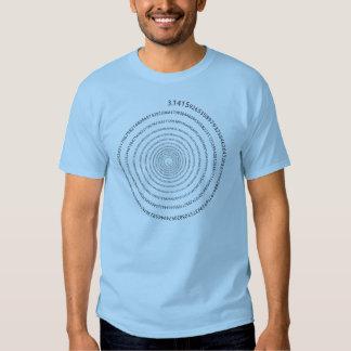Espiral de los dígitos del pi (texto negro) camisetas