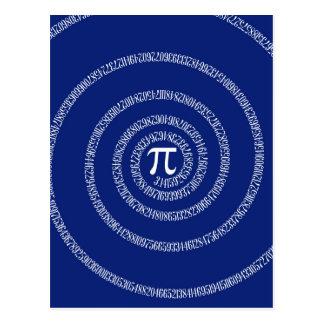 Espiral del diseño para el pi en azules marinos postal