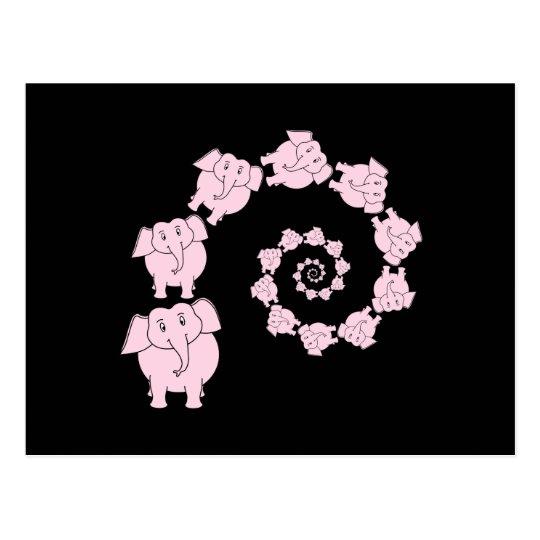Espiral del elefante rosado postal