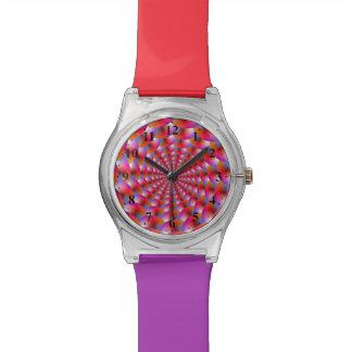 Espiral   del reloj de esferas en rosa y violeta