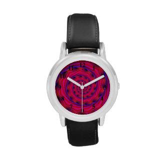 Espiral violeta y azul rojo reloj de mano