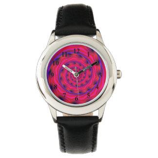 Espiral violeta y azul rojo relojes de pulsera