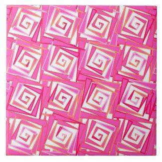 espirales cuadrados modernos rosa del coral azulejo cuadrado grande