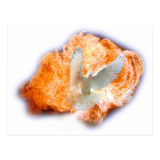Espíritu Santo como la llama y paloma Postal