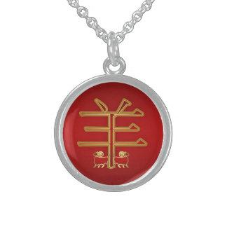 Espolón chino del zodiaco/plata del símbolo de la collares de plata esterlina