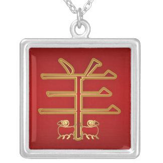 Espolón del zodiaco/collar chinos del cuadrado del colgante cuadrado