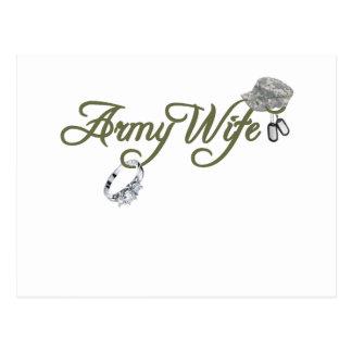 esposa-anillo del ejército, placa de postal