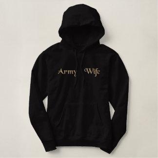 Esposa/cónyuge/mamá/novia orgullosos del ejército sudadera bordada con capucha