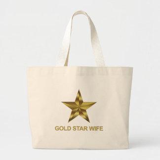 Esposa de la estrella del oro bolsa tela grande