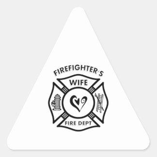 Esposa de los bomberos calcomanías triangulos personalizadas