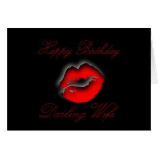 esposa de los labios del cumpleaños felicitacion
