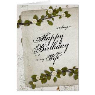 Esposa de madera blanca del feliz cumpleaños tarjeta de felicitación