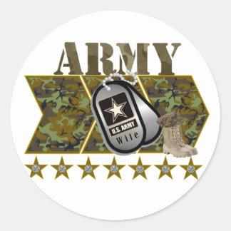 esposa del ejército etiqueta redonda