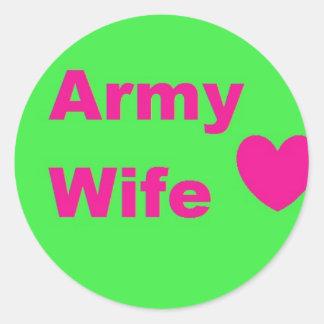 esposa del ejército pegatina redonda