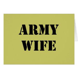 Esposa del ejército tarjeta de felicitación