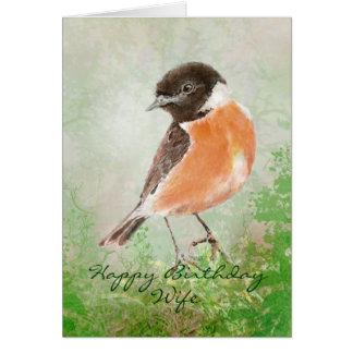 Esposa del feliz cumpleaños del pájaro de Stonecha Tarjeta De Felicitación