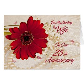 Esposa en el 25to aniversario de boda, una flor de tarjeta de felicitación