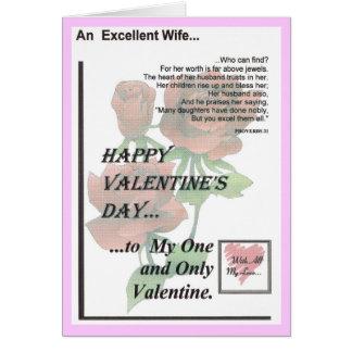 Esposa excelente del el día de San Valentín feliz Tarjeta De Felicitación