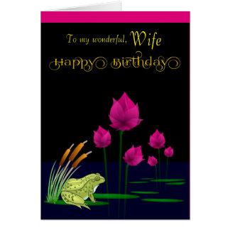 Esposa/feliz cumpleaños - rana del pantano tarjeta de felicitación