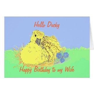 Esposa linda de la tarjeta de cumpleaños del anadó