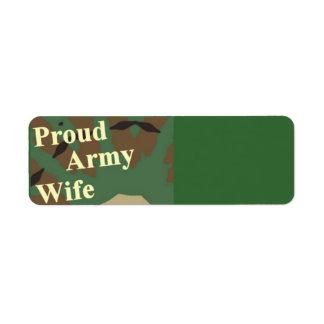Esposa orgullosa del ejército etiquetas de remite
