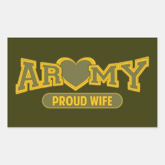 Esposa orgullosa del ejército pegatina rectangular