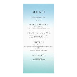 Espuma del mar y menú azul del boda