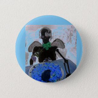 Esqueleto azul y negro, huesos, insignia del botón