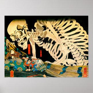 Esqueleto convocado por la bella arte de Kuniyoshi