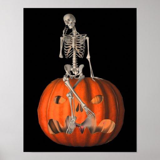 Esqueleto de Halloween en la calabaza de la linter Impresiones