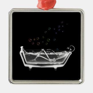Esqueleto de la radiografía de la tina de baño - adorno cuadrado plateado