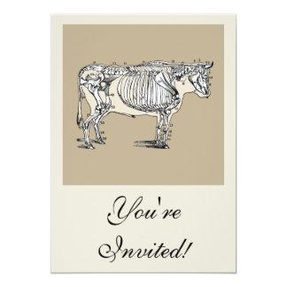 Esqueleto de la vaca del vintage invitación 12,7 x 17,8 cm
