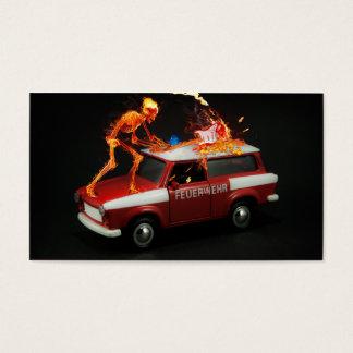 Esqueleto del coche de bomberos tarjeta de negocios