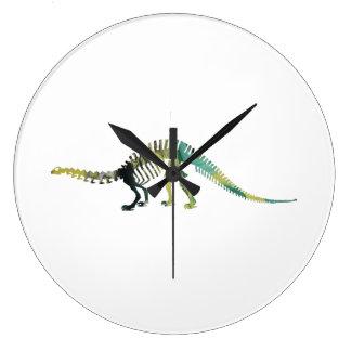 Esqueleto del dinosaurio reloj redondo grande