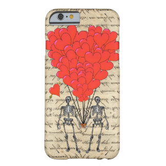 Esqueleto divertido del vintage y corazón rojo funda barely there iPhone 6