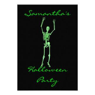 Esqueleto verde claro de baile del fiesta de Hall Anuncios