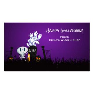 Esqueleto y fantasmas lindos fantasmagóricos del tarjetas de visita