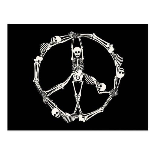 Esqueletos del signo de la paz tarjetas postales