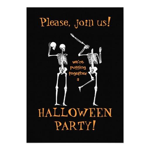 Esqueletos divertidos de Halloween - únase a por f Invitación Personalizada