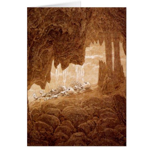 Esqueletos en una tarjeta del retiro de la cueva