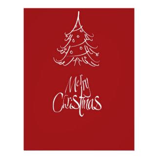 Esquema blanco del árbol de navidad de las Felices Tarjetas Publicitarias