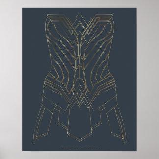 Esquema de la armadura del oro y de la marina de póster