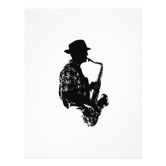 Esquema de la vista lateral del jugador de saxofón tarjeta publicitaria