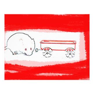 esquema del carro del ratón con el animal lindo tarjeta publicitaria