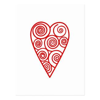 Esquema del corazón de Swirly Postal