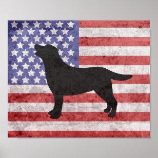 Esquema patriótico 4to de Labrador del poster de Póster