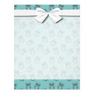 esquemas lindos del búho en azul folleto 21,6 x 28 cm
