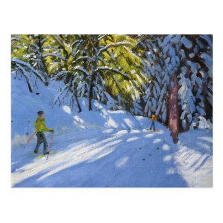 Esquí a través del La Clusaz 2012 de maderas Postal