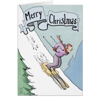 Esquí de la tarjeta de Navidad en las guitarras